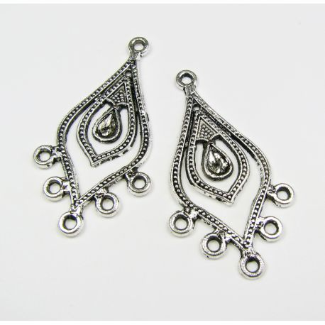 Distributor aged silver color 6 loops 21x38 mm