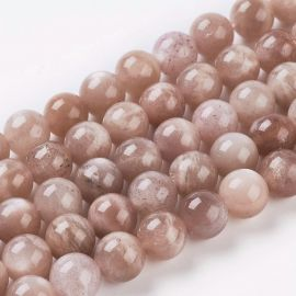 Natural solar stone beads. Peach color with sheen size 8 mm
