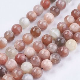 Natural lunar stone beads. Grey-pink-white size 10 mm