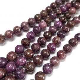 Natural Lepidolitis beads, 8 mm., 1 strand