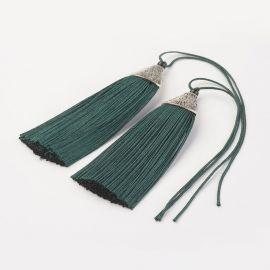 Polyester tassel. Rich green size 85x20x10,5 mm