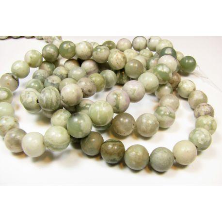 Stone beads white-green - mottled, 8 mm