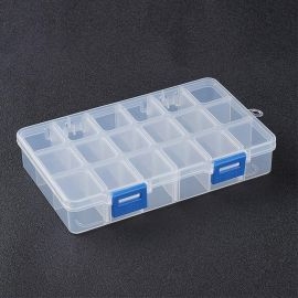 Plastic box with removable curbs. Transparent size 160x100x30 mm