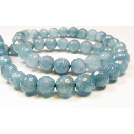 Aquamarine beads dark blue round shape, ribbed 6 mm