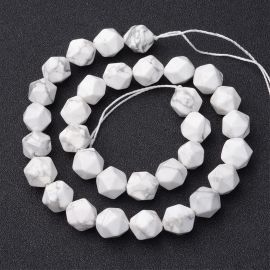 Natural Howlite beads, 10x12 mm., 1gy