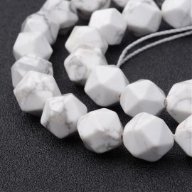 Natural Houlite beads. White with gray inserts size 10x12 mm