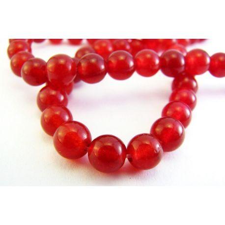 Rubino karoliukai raudonos spalvos apvalios formos 6mm