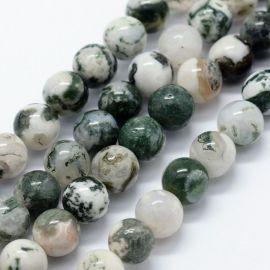 Natūralūs Agato karoliukai. Baltos-žalios spalvos dydis 6 mm
