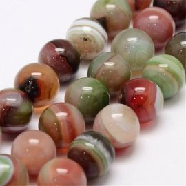 Natural striped agate beads, 14 mm., 1 strand