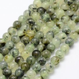 Natural Prehnito beads, 8 mm., 1 strand