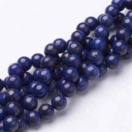 Natural Lapis Lazuli beads, 6 mm., 1 strand