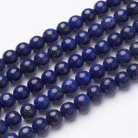 Natūralūs Lapis Lazuli karoliukaidažyti. Mėlynos spalvos su aukso spalvos dulkėmis dydis 6 mm