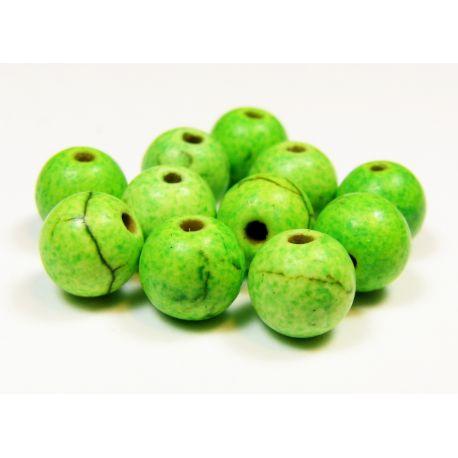 Houlito karoliukai žalios spalvos, apvalios formos 6 mm