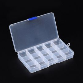 Plastic box for needlework with compartments, transparent, 180x100, 1 pcs