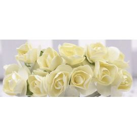 Paper decorative roses, yellowish 10 mm