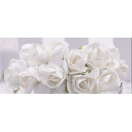 Paper decorative roses, white 10 mm