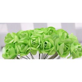 Paper decorative roses, green 10 mm