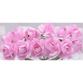 Paper decorative roses, pink 10 mm