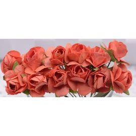 Paper decorative roses, orange 10 mm