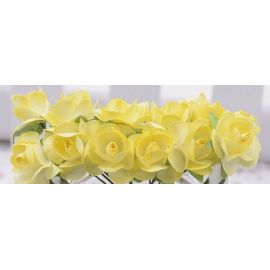 Paper decorative roses, yellow 10 mm