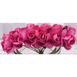 Paper decorative roses, dark pink 10 mm