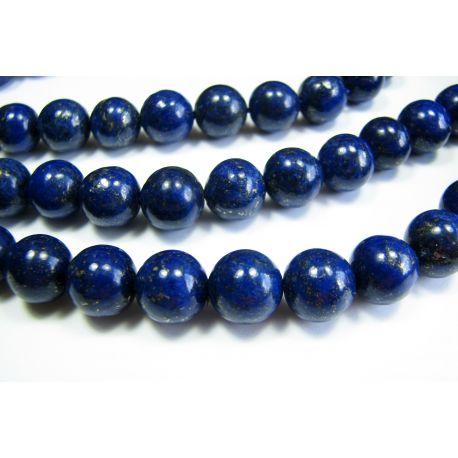 Lapis Lazuli bead thread, dark blue, Class A round shape 10mm