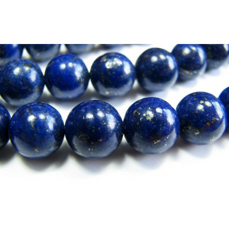 Lapis Lazuli karoliukai, A klasės, tamsiai mėlynos spalvos apvalios formos 8mm