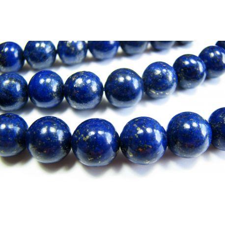 Lapis Lazuli karoliukų gija, tamsiai mėlynos spalvos, A klasės apvalios formos 8 mm