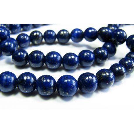Lapis Lazuli krelles tumši zilas, A klases apaļa forma 6 mm