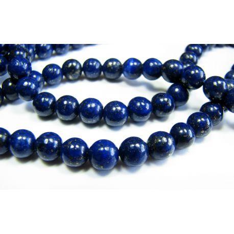 Lapis Lazuli bead thread, dark blue, Class A round shape 6 mm