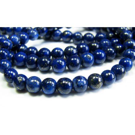 Lapis Lazuli karoliukai tamsiai mėlynos spalvos, apvalios formos 4 mm