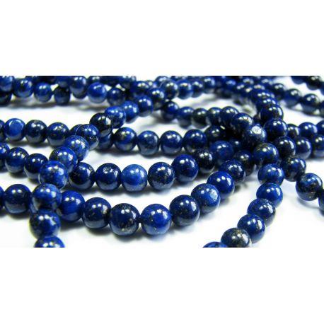 Lapis Lazuli karoliukų gija, tamsiai mėlynos spalvos, apvalios formos 3 mm