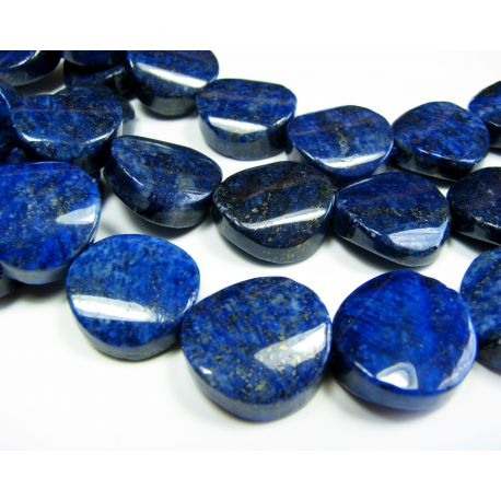 Lapis Lazuli karoliukai tamsiai mėlynos spalvos, monetos formos, apie 18 mm dydžio
