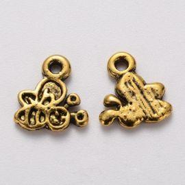 Bee pendant, 10x9x1 mm, 4 pcs., 1 bag
