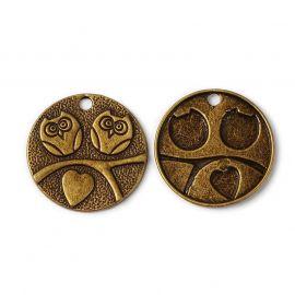 Owl pendant, 25x2 mm, 2 pcs., 1 bag