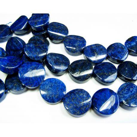 Lapis Lazuli karoliukų gija, tamsiai mėlynos spalvos, monetos formos, apie 18 mm dydžio