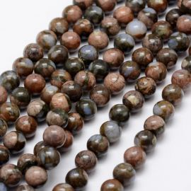 Natural African Opal beads. Blue-beige-greenish size 8 mm