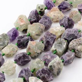Натуральные самородки аметиста и пренито. Зеленовато-пурпурный размер 16-32х10-28 мм