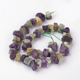 Natural nuggets of Amethist and Prehnito. Greenish-purple size 18-25x19-7 mm