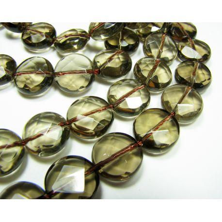 Smoky quartz beads brown, transparent coin shape 12 mm