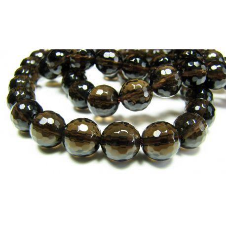 Smoky quartz beads dark brown, transparent round shape 8 mm