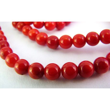 Koralo karoliukai ryškiai raudonos spalvos apvalios formos 5mm