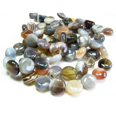Botswana agate beads white - gray - yellowish, coin shape 10 mm