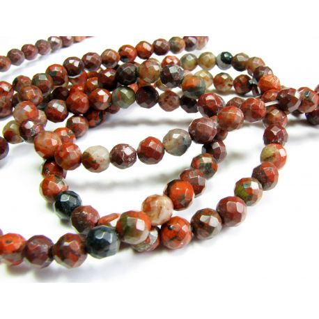 Red Jaspio beads red-brown, mottled round shape, ribbed 6 mm