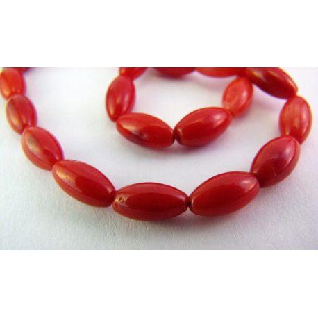 Koralo karoliukai raudonos spalvos ovalo formos 4x8mm