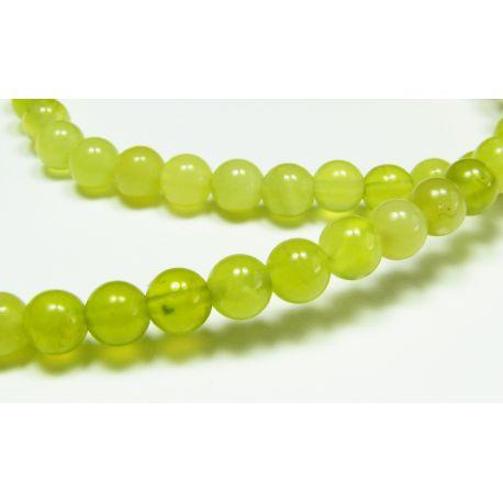 Nefrito karoliukai, geltonai žalios spalvos apvalios formos, 4 mm