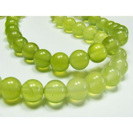 Nefrito karoliukai, geltonai žalios spalvos apvalios formos, 6 mm