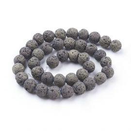 Natural lava beads, 10-10.5 mm, 1 strand