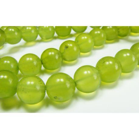 Nefrito karoliukai, geltonai žalios spalvos apvalios formos, 8 mm