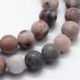 Natural beads of pink zebra jaspi, 8 mm, 1 strand
